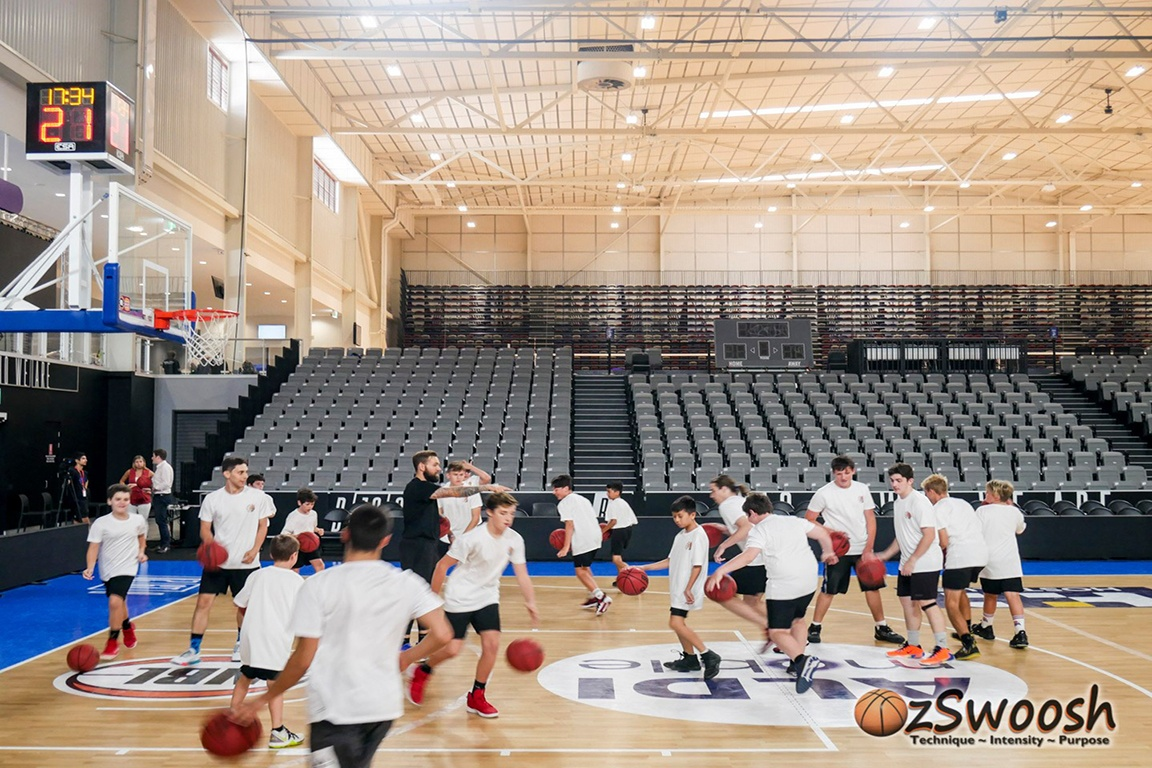 OzSwoosh Rookies having fun with Jeremy Kendle at the Brisbane Bullets Clinic 2020. Over 20 athletes and a dozen parents experienced the bullets tour.