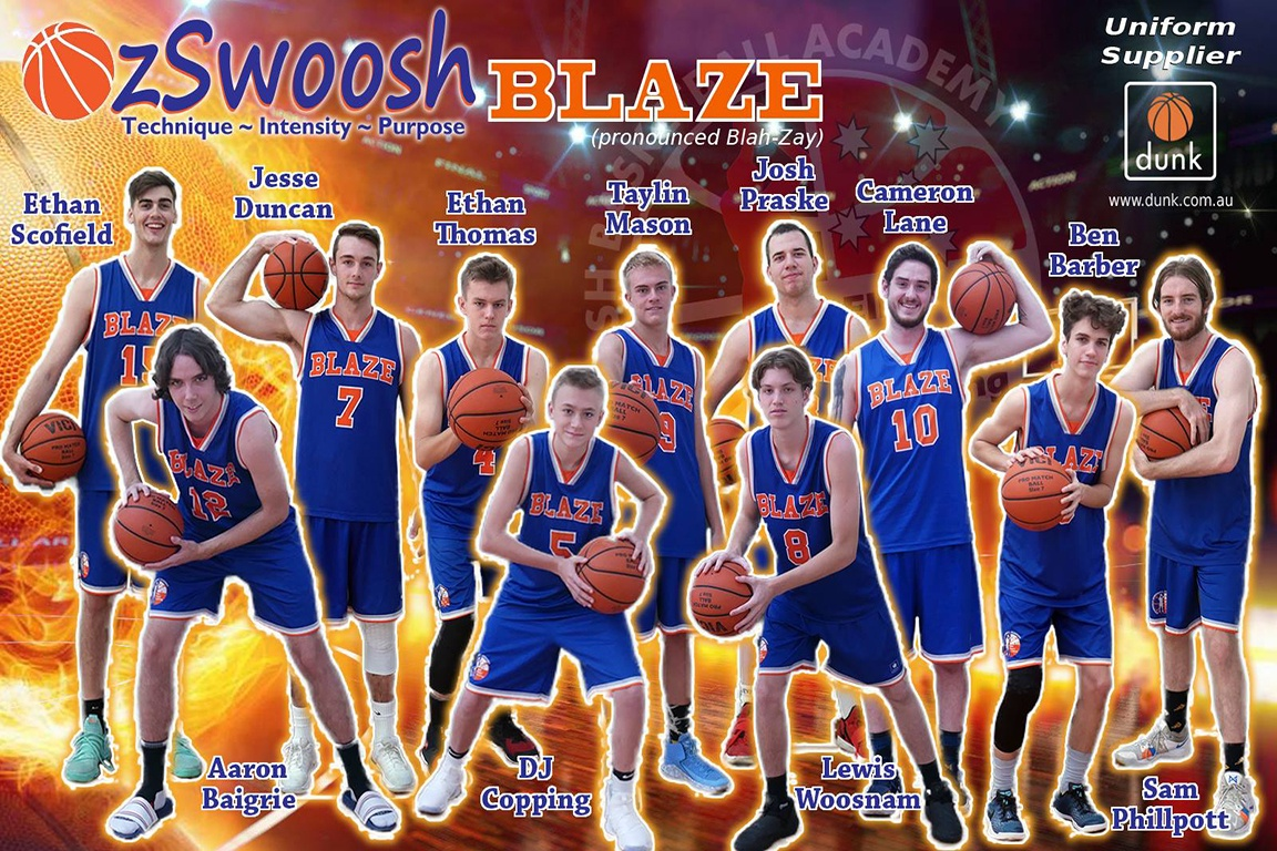 OzSwoosh Academy Tournament Team Basketball Poster 2019 created for athletes who participated in the 2019 Oz Day Carnival.