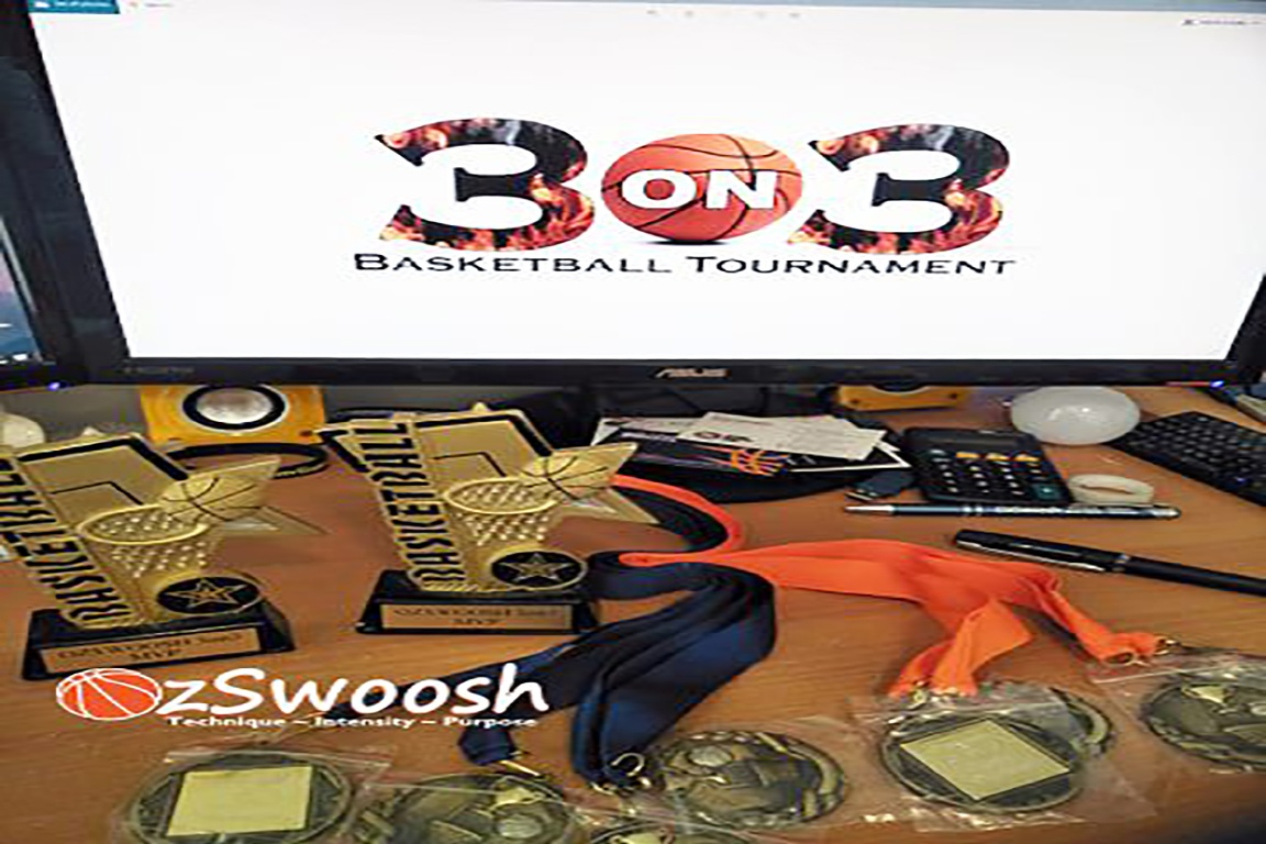 OzSwoosh Inaugural 3 on 3 Tournament 2019 prizes for different age groups. Competition run at Deception Bay PCYC in a round robin format.