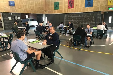 OzSwoosh Coach Craig Rowe helps at School Careers Day at a local private school offering mock interviews and career advice in the sports industry.