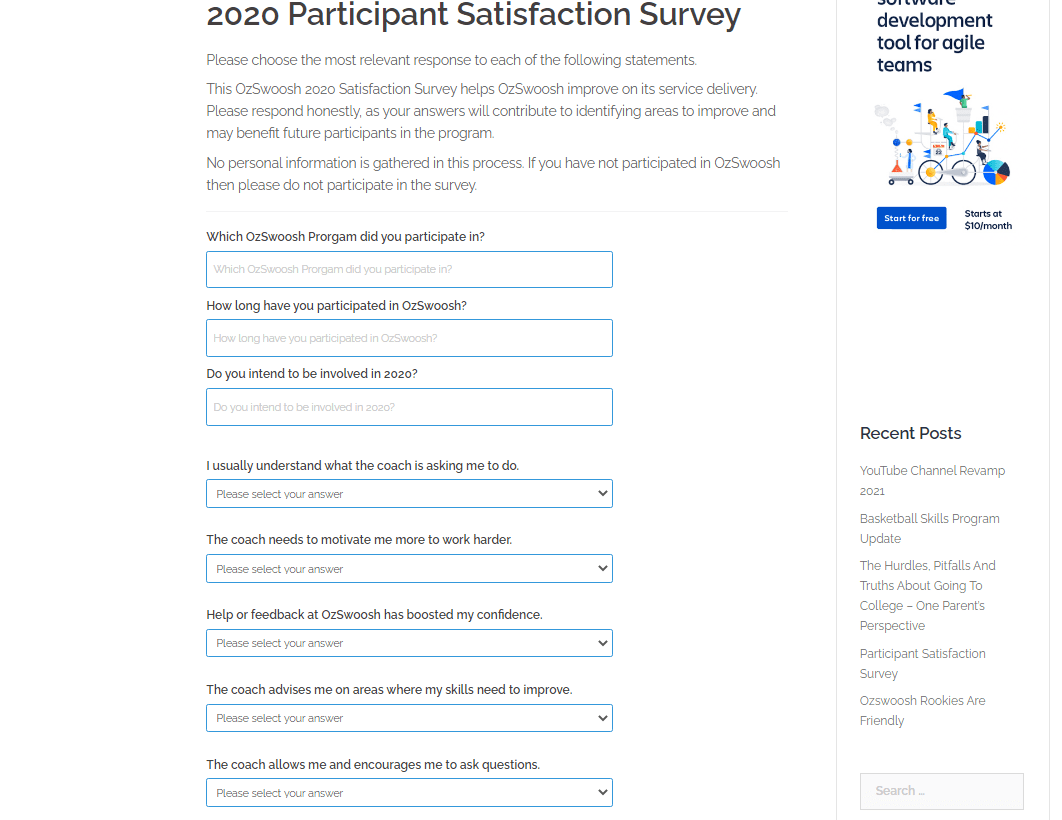 OzSwoosh Athlete Satisfaction Survey 2020