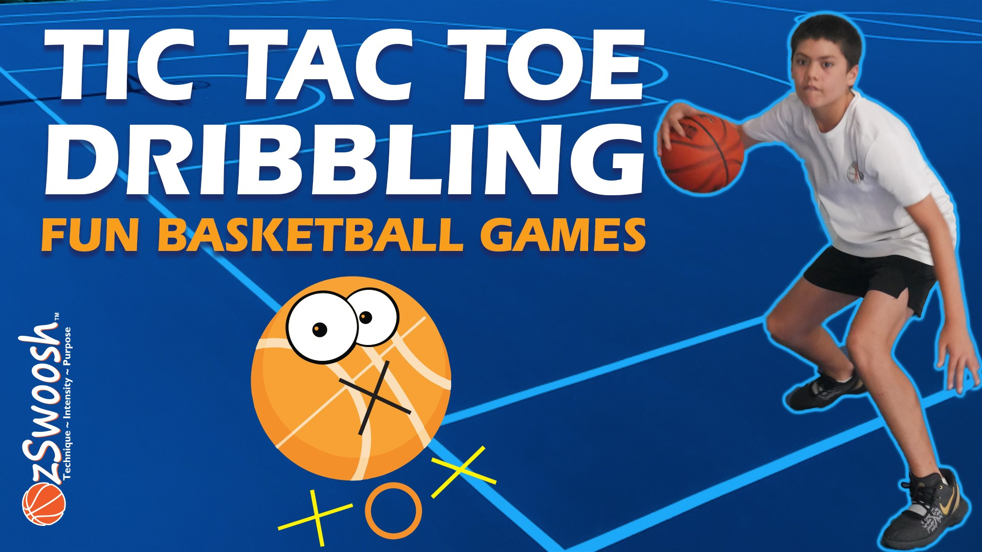 Fun Youth Basketball Drills For Kids - Tic Tac Toe (Dribbling Game)
