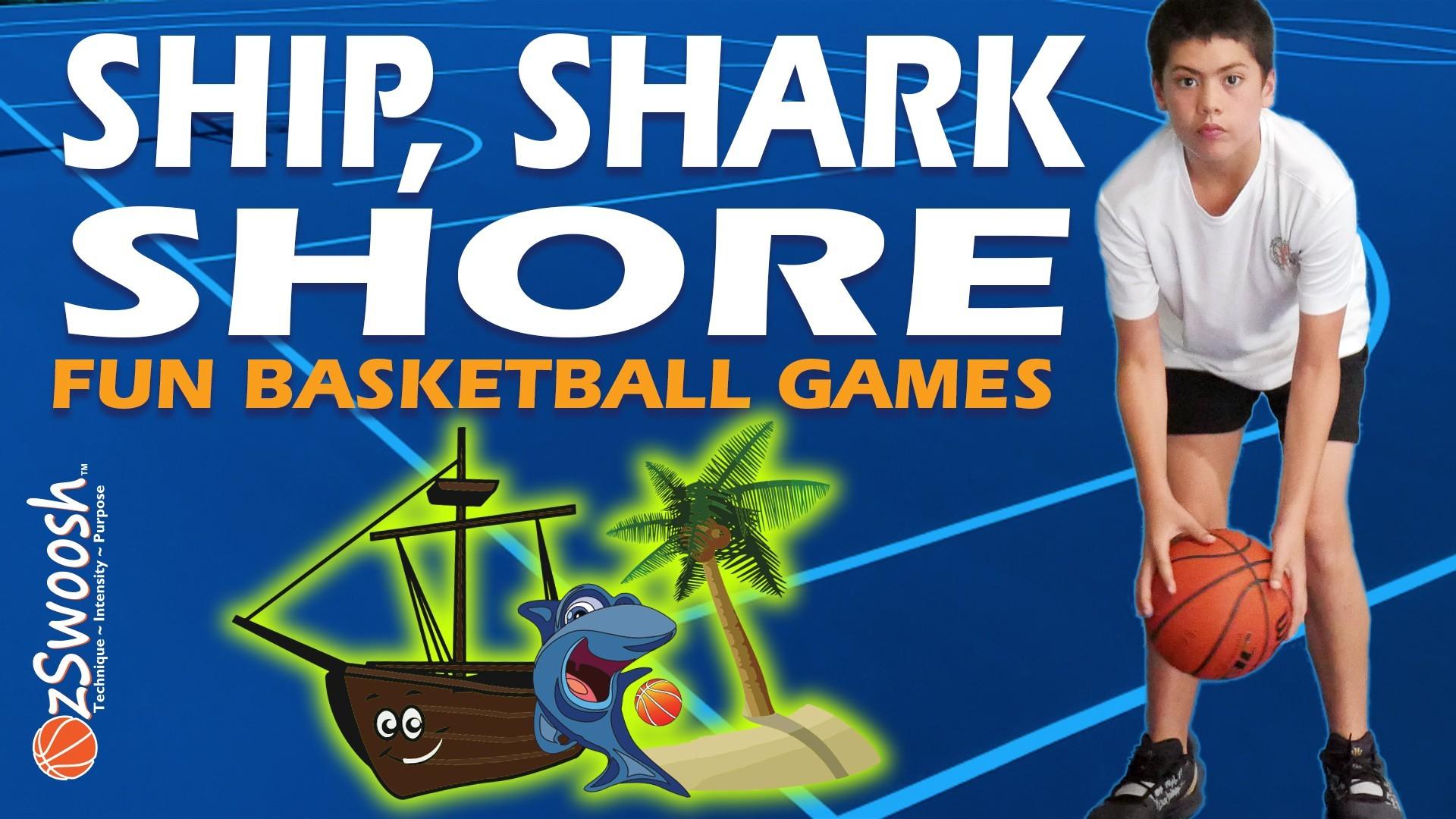 Fun Basketball Drill For Kids - Ship Shark Shore (Dribbling Game)