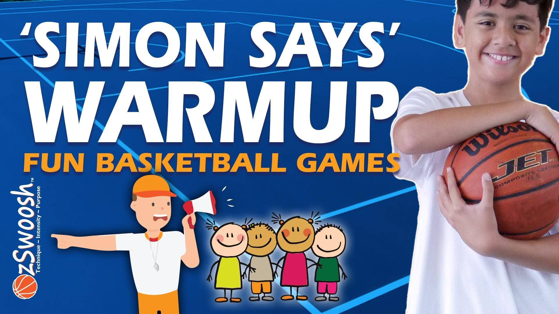 Fun Youth Basketball Drills For Kids - Simon Says (Warmup Game)